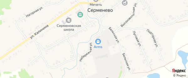 Набережная улица на карте села Серменево с номерами домов
