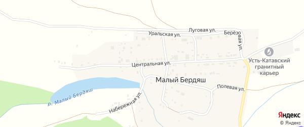 Центральная улица на карте поселка Малого Бердяша с номерами домов