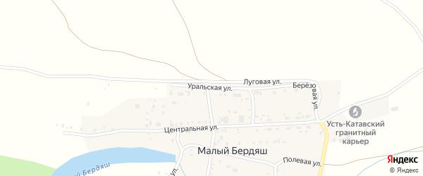 Уральская улица на карте поселка Малого Бердяша с номерами домов