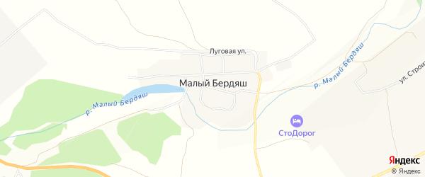 Карта поселка Малого Бердяша города Усть-Катава в Челябинской области с улицами и номерами домов