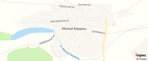 Луговая улица на карте поселка Малого Бердяша с номерами домов