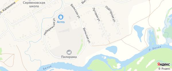 Бельская улица на карте села Серменево с номерами домов
