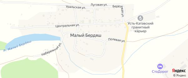 Полевая улица на карте поселка Малого Бердяша с номерами домов