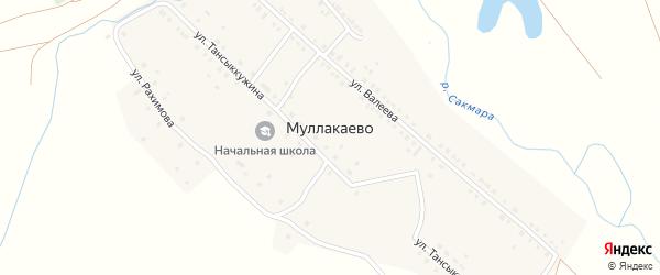 Улица Д.Тансыккужина на карте деревни Муллакаево с номерами домов