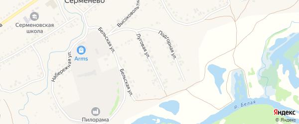 Луговая улица на карте села Серменево с номерами домов