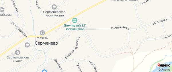 Солнечная улица на карте села Серменево с номерами домов