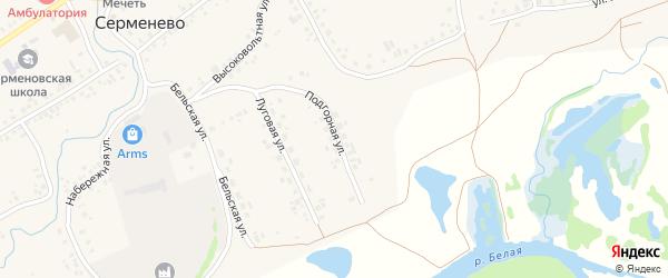 Подгорная улица на карте села Серменево с номерами домов