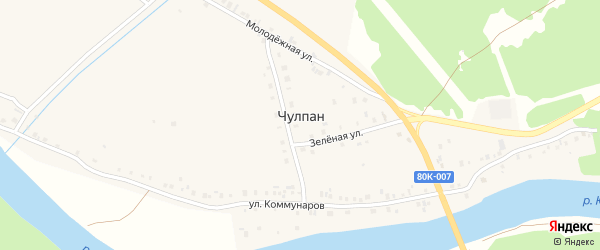 Луговая улица на карте деревни Чулпана с номерами домов