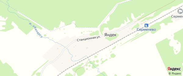 Станционная улица на карте деревни Яндека с номерами домов