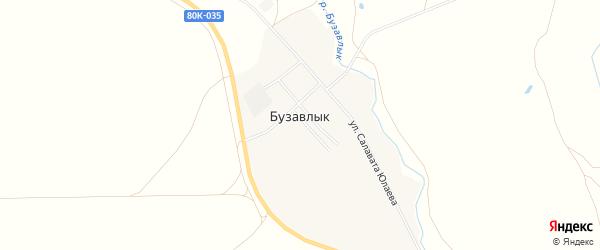 Карта деревни Бузавлыка в Башкортостане с улицами и номерами домов