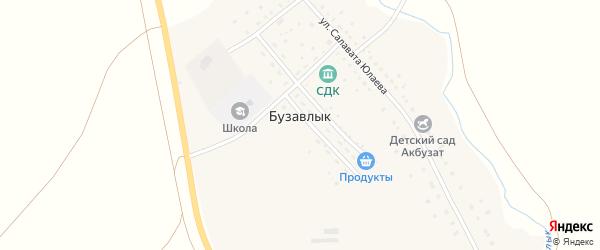 Улица Юмабая Исянбаева на карте деревни Бузавлыка с номерами домов