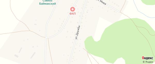 Улица Дружбы на карте деревни Каратала с номерами домов