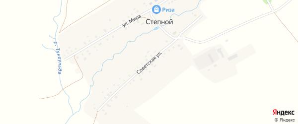Советская улица на карте деревни Степного с номерами домов