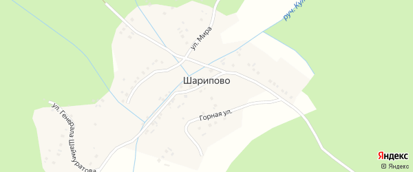 Улица Мира на карте деревни Шарипово с номерами домов