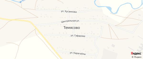 Улица Худайбердина на карте села Темясово с номерами домов