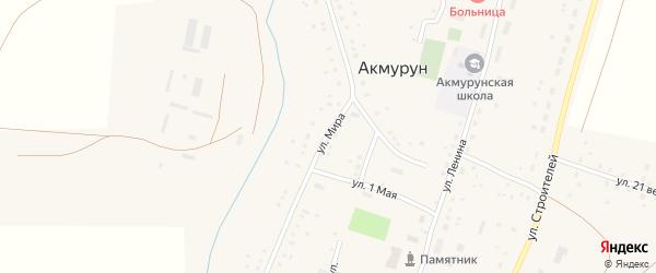 Улица Мира на карте села Акмуруна с номерами домов