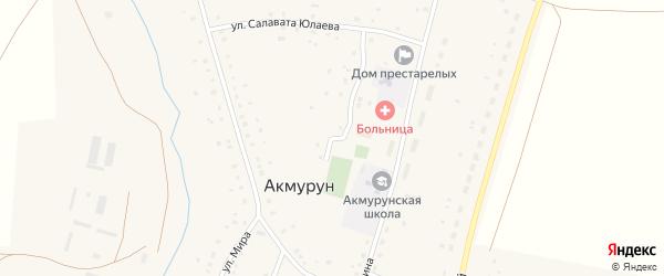 Улица С.Юлаева на карте села Акмуруна с номерами домов