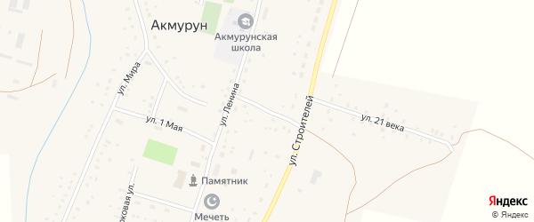 Целинный переулок на карте села Акмуруна с номерами домов