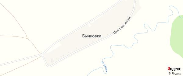 Центральная улица на карте деревни Бычковки с номерами домов
