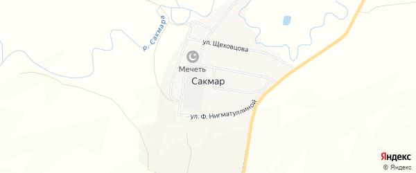 Карта деревни Сакмара в Башкортостане с улицами и номерами домов