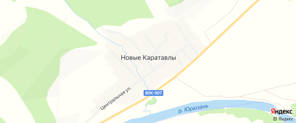 Карта деревни Новые Каратавлы в Башкортостане с улицами и номерами домов