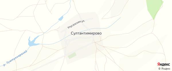 Карта деревни Султантимирово в Башкортостане с улицами и номерами домов