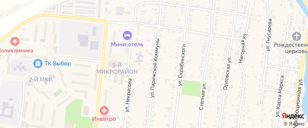 Улица Парижской Коммуны на карте Усть-Катава с номерами домов