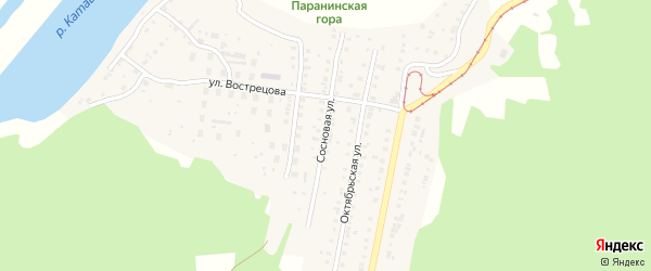 Сосновая улица на карте Усть-Катава с номерами домов