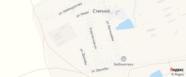 Усерганская улица на карте села Степного с номерами домов