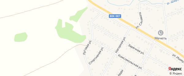 Луговая улица на карте села Малояза с номерами домов