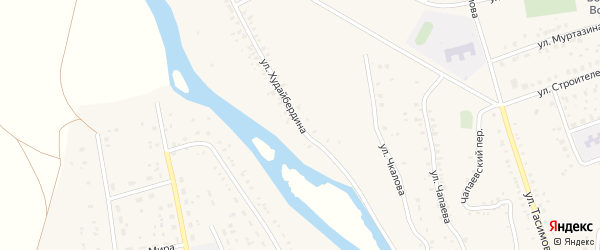 Улица Худайбердина на карте села Бурибая с номерами домов