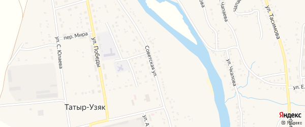 Советская улица на карте села Татыра-Узяка с номерами домов