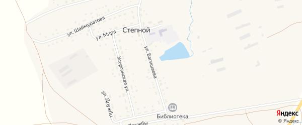 Улица Багишаева на карте села Степного с номерами домов