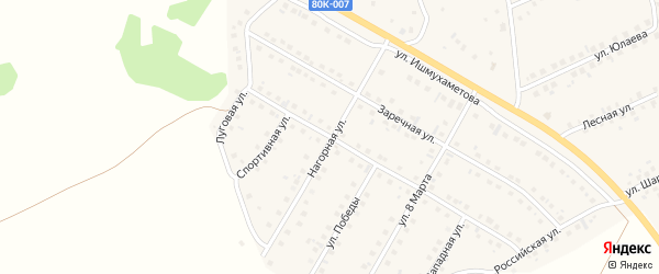 Нагорная улица на карте села Малояза с номерами домов