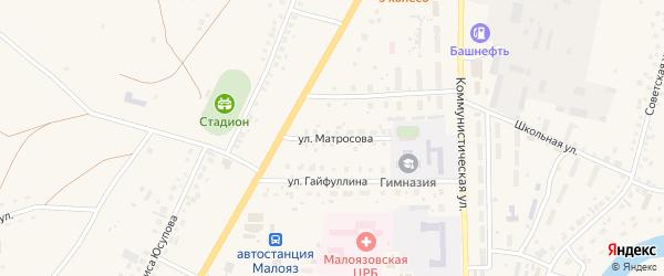 Улица Матросова на карте села Малояза с номерами домов