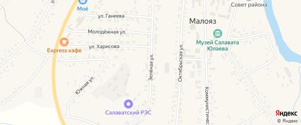 Зеленая улица на карте села Малояза с номерами домов