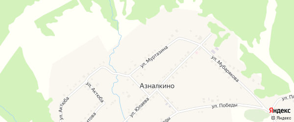 Улица Мусы Муртазина на карте села Азналкино с номерами домов