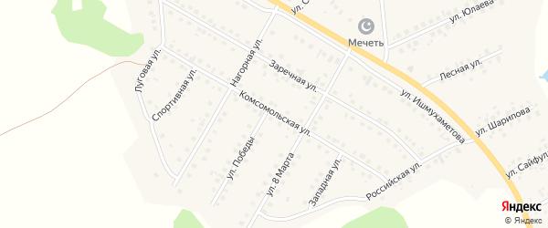 Комсомольская улица на карте села Малояза с номерами домов