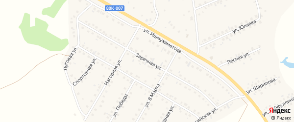 Заречная улица на карте села Малояза с номерами домов