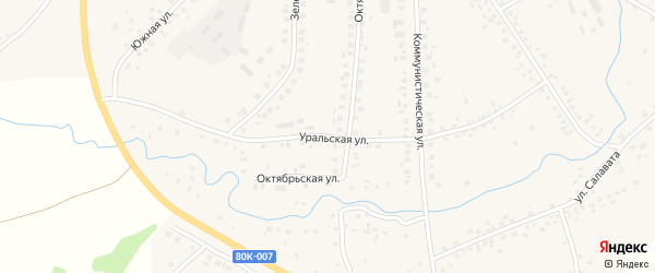 Уральская улица на карте села Малояза с номерами домов