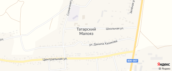 Солнечная улица на карте села Татарского Малояза с номерами домов