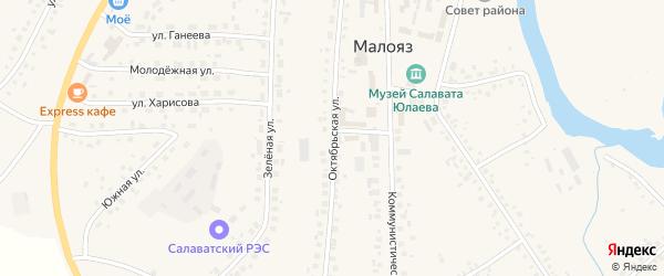 Октябрьская улица на карте села Малояза с номерами домов