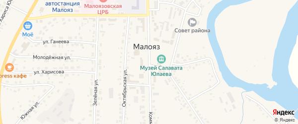 Коммунистическая улица на карте села Малояза с номерами домов