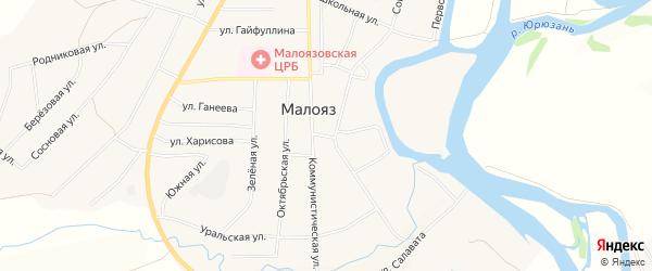 Карта села Малояза в Башкортостане с улицами и номерами домов