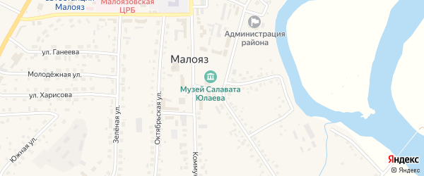 Кольцевая улица на карте села Малояза с номерами домов