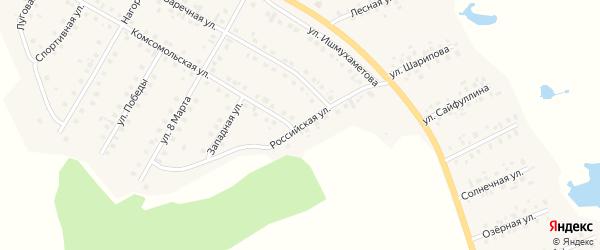 Российская улица на карте села Малояза с номерами домов