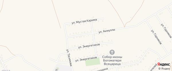Улица Акмуллы на карте села Бурибая с номерами домов