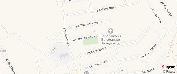 Улица Энергетиков на карте села Бурибая с номерами домов