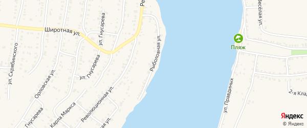 Рыболовная улица на карте Усть-Катава с номерами домов
