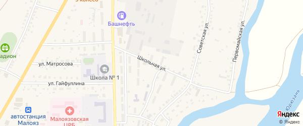 Школьная улица на карте села Малояза с номерами домов